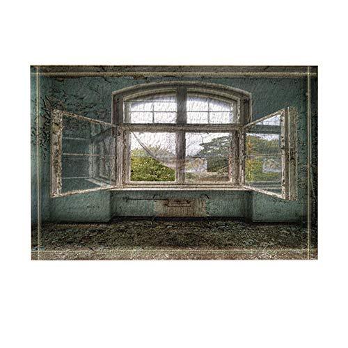 Ottbrn Rustico Village House Raamdecoratie van hout, antislip deurmat, ingang op de vloer, tapijt, buitendeur, binnendeur, mat, 15,7 x 23,6 turquoise