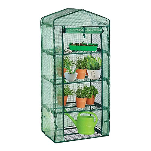 4 Tier Garden Greenhouse Staging Shelving, Large Reinforced Green House Garden Grow House With Reinforced PE Cover & Frame, Green 69*49*160cm