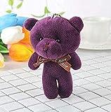 N-L 12 cm de algodón de Peluche de Oso de Peluche de Juguete pequeño Bolso Colgante Accesorios para niños Regalo de cumpleaños púrpura