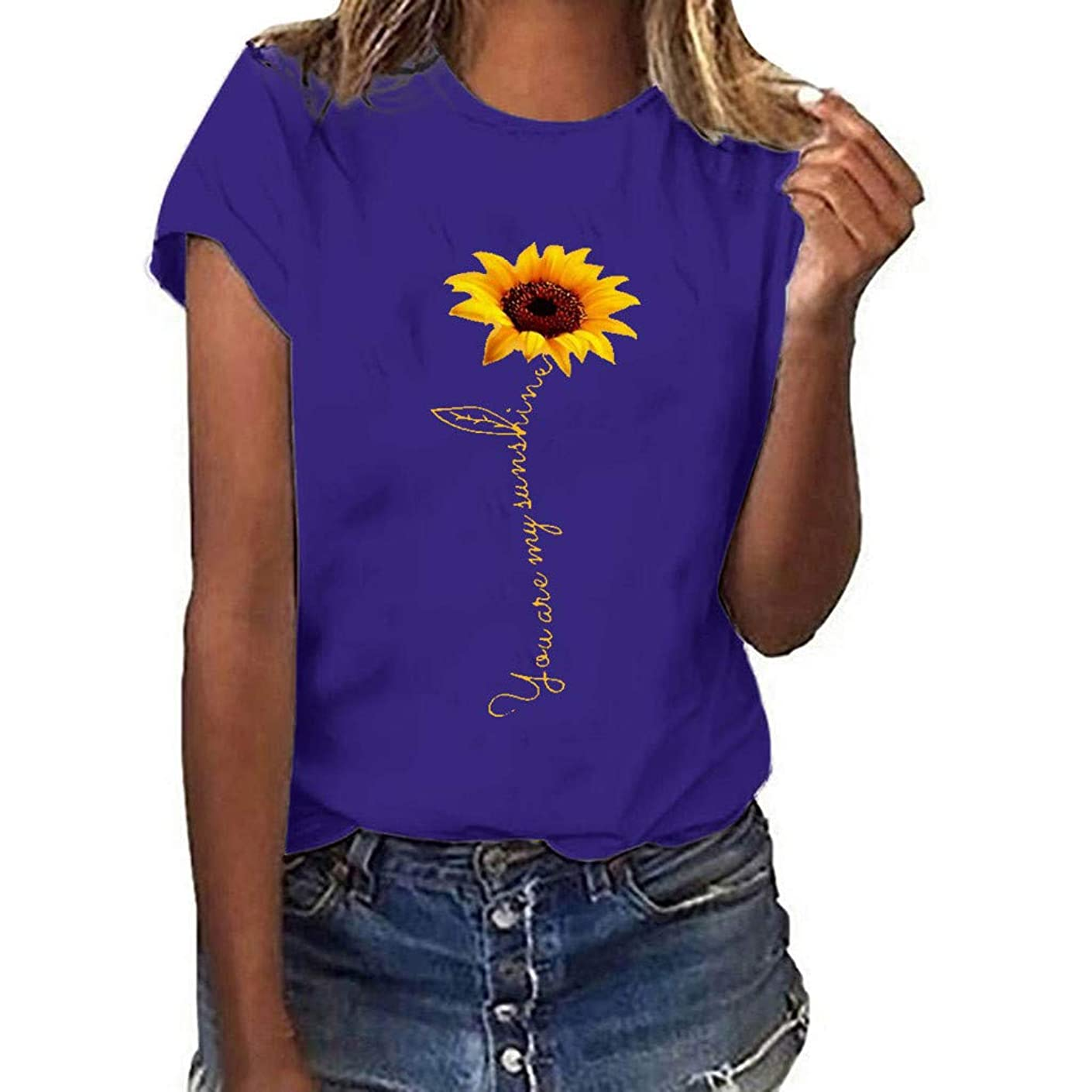 Londony?? Sunflower T-Shirt Women Cute Funny Graphic Tee Teen Girls Casual Short Sleeve Shirt Tops Summer T Shirt