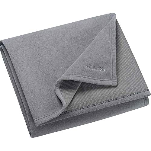 Columbia Sportswear Company Cozy Soft Fleece Bed and Couch Throw Blanket with Thermal Coil Warm Body Heat Insulating Technology - Titanium Gray