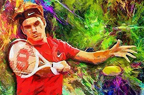 DFGFGF DIY 5D Tennis Federer Full Diamond Painting Cross Stitch Kits Art D Paint by Diamonds 40X50Cm