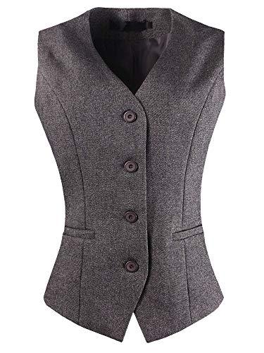 CYSTYLE Damen Weste Anzug Weste Anzugweste Kellnerweste Freizeitweste Slim fit(Grau, EU S=Asia XL)