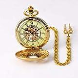 LJYY Reloj de Bolsillo, Flor Dorada, mecánico, para Hombre, Collar Antiguo, Bolsillo y Fob, Relojes, Cadena, Reloj Masculino
