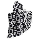 ABAKUHAUS Abstrait Sac Cadeau pour Fête Prénatale, Moderne Pavement de mosaïque, Pochette en Tissu Réutilisable de Fête avec 3 Rubans, 70 x 80 cm, Noir pâle Gris Blanc