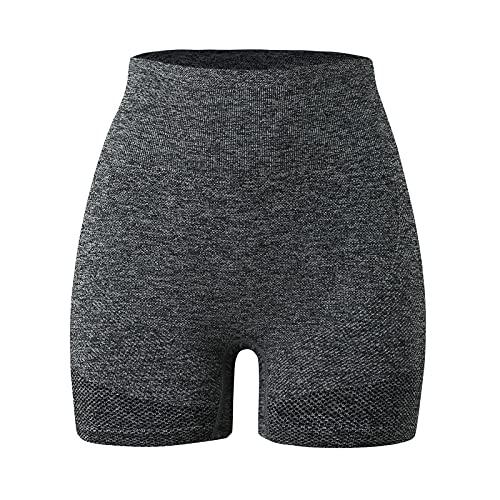 Pistaz Pantalones cortos deportivos para mujer, de algodón, hasta la rodilla, para verano, para yoga, pilates, deportes, gris, 38W regular