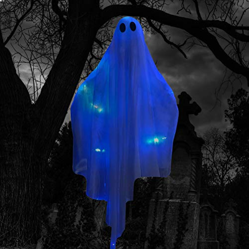 """Halloween Hanging Light up Ghost with Spooky Blue LED Light, 47"""" White Hanging Ghosts, Best Halloween Hanging Decoration for Front Yard Patio Lawn Garden Party Decor Indoor Outdoor"""