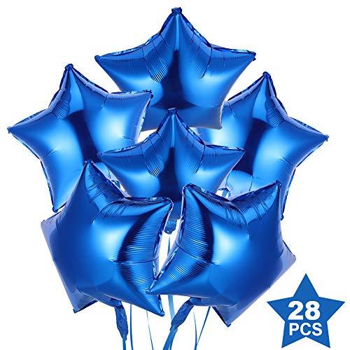 SUI-lim 28 Stück 18 Zoll Stern Luftballons, Folienballon, Sternluftballons Heliumballon Folienluftballon Ballone für Geburtstag, Hochzeit, Valentinstag, Weihnachtsfeier Dekoration(Blau)