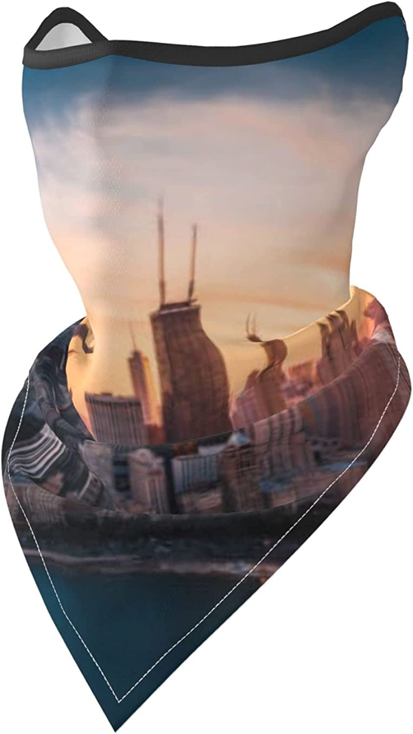 Downtown Chicago at Sunset Usa Pictures Prints Breathable Bandana Face Mask Neck Gaiter Windproof Sports Mask Scarf Headwear for Men Women Outdoor Hiking Cycling Running Motorcycling