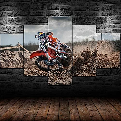 DUODUOQIAN Carreras De Motocross 5 Piezas Cuadro De Pintura Póster De Arte Moderno Oficina Sala De Estar O Dormitorio Decoración del Hogar Arte De Pared 150X80Cm(con Marco)