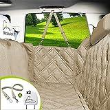 Meadowlark Housse de siège pour chien voiture Beige universelle Imperméable! Protection complète banquette arrière vehicule + portières + 2 appuis-tête. Couverture pour animaux de qualité supérieure!