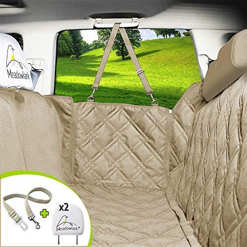 Meadowlark® Hundedecke für Auto Rückbank. Wasserdicht! Komplettschutz Beige Autoschondecke für Hunde, Wasserfester Rücksitz Sitzbezug, ideale Autodecke für Haustiere, Schonbezüge Decke + 2 Geschenke