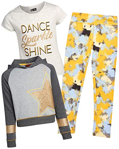 RBX Girls' Fleece Hoodie Set - Pullover Hoodie, Short Sleeve T-Shirt, and Leggings Set, Size 7/8, Charcoal/Yellow Stars'