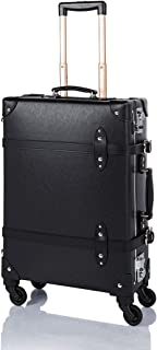 """COTRUNKAGE Spinner Vintage Luggage PASCO Carry On Suitcase with TSA Lock (20"""", Black/Black)"""