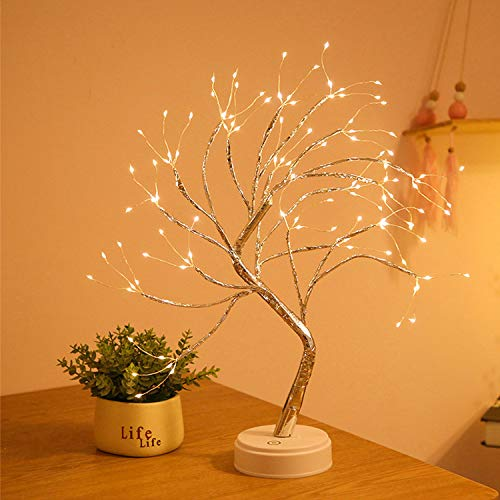 20'' Tabletop Bonsai Tree Light with 108 LED Lights-USB/Battery Touch Switch, Fairy Spirit Light Tree Celtic Serenity, Artificial Lighted Tree Lamp for Home Decor, for Her, Women