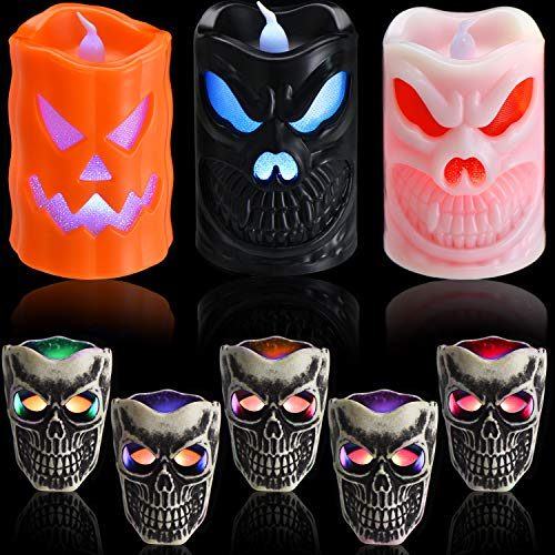 8 Pieces Halloween LED Skull Light Skull Candle Tea Lights Flickering Glitter Candles Decoration...