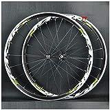 LSRRYD Juego Ruedas Bicicleta 700C Rueda Bicicleta Carreras Freno C/V Llanta Aleación Doble Pared Casete 7-11 Velocidades Buje Cojinete Sellado 6T QR (Color : Green, Size : 700C)