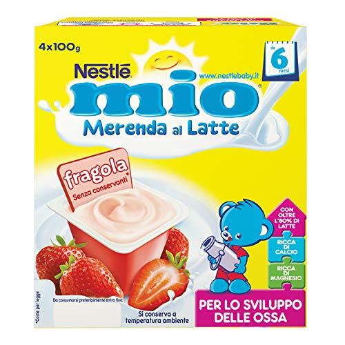 Nestlé Mio Merenda al Latte Fragola, da 6 Mesi, senza Glutine, 6 Confezioni da 4 Vasetti, 24 Vasetti