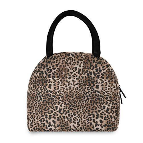 ADMustwin - Bolsa de almuerzo aislada con estampado de piel de leopardo, para la escuela, picnic, viaje, trabajo, para mujer, hombre y adolescente