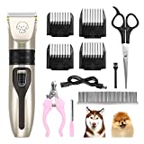 TekkPerry Dog Grooming Kit Clippers, Rechargeable Electric Cordless Dog Pet Clipper, Low Noise Pet Grooming Tool, Dog Hair Trimmer Shaver for Dogs, Cats, Other Pets