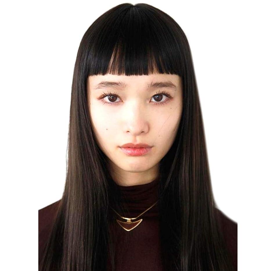 ガム意味のある促進するSummerys レディースウィッグロングストレートヘアエアー前髪ビッグスカルプファッションリアルウィッグヘッドギア