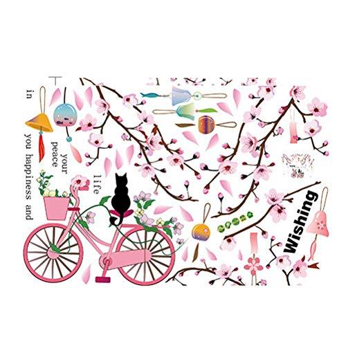 Siamrose WTD - Adhesivo decorativo para pared, diseño de gato con flores