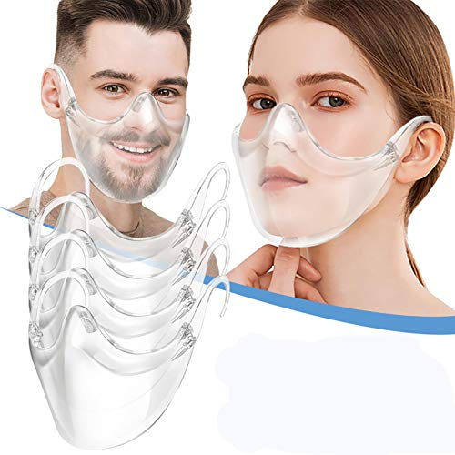 Owill 3D Anti-Fog Clarity Face_Shield Protective Face Guard, Comfort & Safety Plastic Reusable Clear Face Protection, Breathable Anti-Haze Windproof Transparent Mouth Protection for Adults (4 PCS)