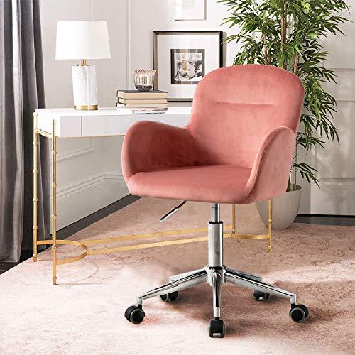 Recaceik Velvet Office Chair, Cute Modern Upholstered Chair,Swivel Adjustable Makeup Chair for Women, for Living Room Bedroom (Pink)