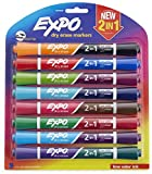 EXPO 1944658 2-in-1 Dry Erase Markers, Chisel Tip, Assorted Colors, 8-Count,Assorted + Black
