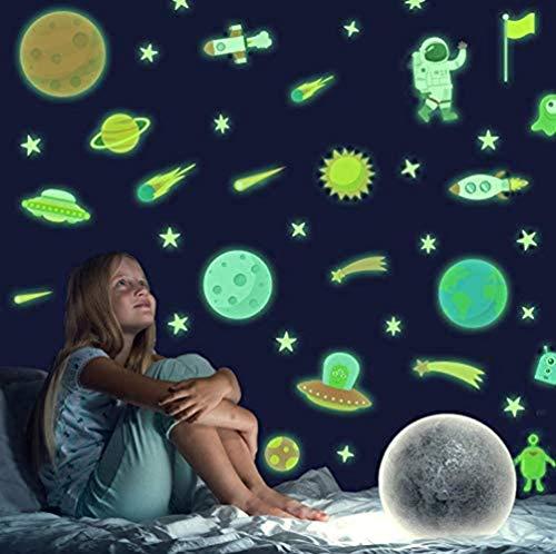 Adesive da Parete Fluorescenti Spazio,Luminosi Adesivi Murali Sistema Solare Stelle per Stanza dei ragazzi,Stickers Murali Razzo Pianeti per Camerette Bambini Asilo Nido Soffitto soggiorno Decorazioni