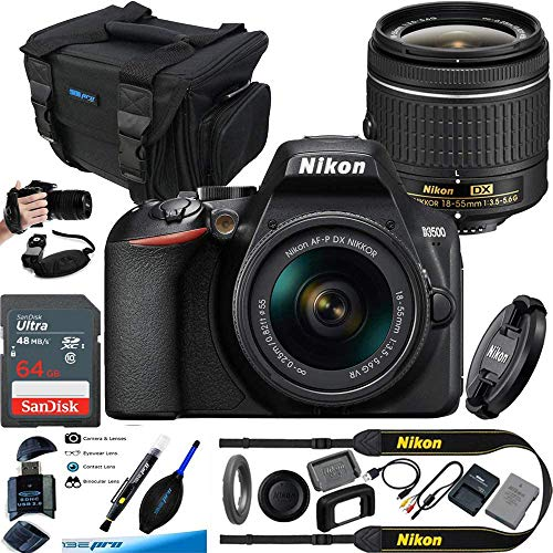 Nikon D3500 W/AF-P DX NIKKOR 18-55mm f/3.5-5.6G VR Black - Essential Accessories Bundle
