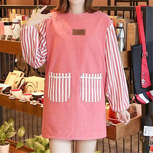 YXDZ Schürze Mit Ärmel Home Küche Kochen Erwachsene Kleid Frauen Langarm Wasserdicht Ölbeständig Ganzkörper Arbeitskleidung Männer Mode Rot