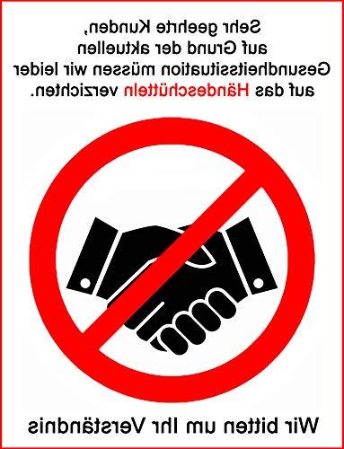 MS Car Sticker Info Aufkleber Kein Händeschütteln No Handshake zur Aussen oder Innenmontage (Innenverklebung)