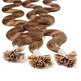 hair2heart 25 x 1g Extension Capelli Veri Cheratina, ondulato - 50cm - #8 biondo scuro...