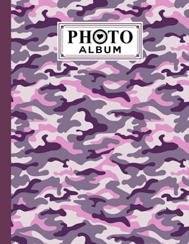 """Photo Album: Pink Camouflage Album, Large Photo Albums with Writing Space Memo, Extra Large Capacity Picture Album, Family, Baby, Wedding, Travel Photo Book, 120 Pages, Size 8.5"""" x 11"""" by Mina Krause"""