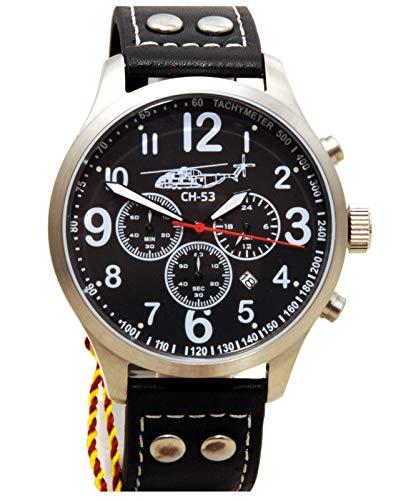 IMC Fliegeruhr Sikorsky Männer Herren Chronograph Armbanduhr Uhr Lederarmband Gehäuse aus Edelstahl