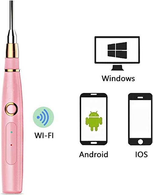 HWENJ WiFi Teléfono Celular Endoscopio para La Oreja 4.3mm HD Impermeable con Kit De Limpiador De Oreja 6 Luces LED Endoscopio Oreja Cámara Intraoral para iOS Android Smartphone Tablet