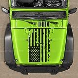 Skull Daddy Graphics Distressed Flag Hood Decal Sticker to fit Jeep Wrangler JL JK JKU 2007-2020 (Matte Black)