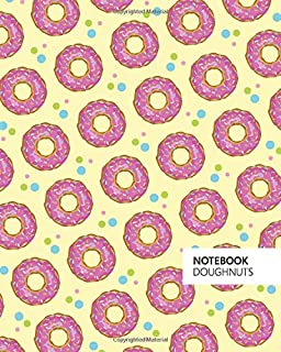 Doughnuts Notebook: (Soft Yellow Edition) Fun notebook 192 ruled/lined pages (8x10 inches / 20.3x25.4 cm / Large Jotter)
