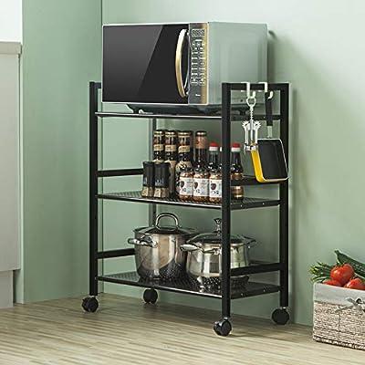 SSLine 4 Shelf Metal Rolling Kitchen Storage Cart Organizer, Microwave Oven Stand Cart on Wheels Mobile Utility Cart Baker Rack Shelving Unit from Zipperl