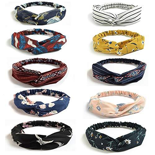 10 PCS Headbands Vintage Élastique, Bandeau Cheveux Femme Vintage, imprimé Criss Cross noué élastique bande de cheveux extensible tête Wrap Twisted cheveux accessoires