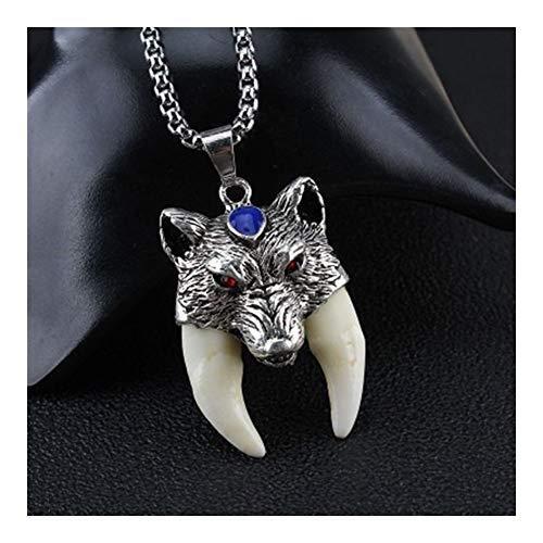 AdorabFruit Présent Pendentif Collar Amuleto Colgante de Moda Punk de los Hombres Lobo Valiente Colgante, Collar de Hombres de Las Mujeres de Lucky joyería clásica del colmillo Diente