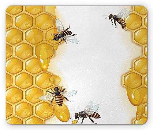 Honingraat Mouse Pad, Bijen Geometrische vormen Hive Thema Honing maken Bugs Illustratie, Mousepad muismat Zwart