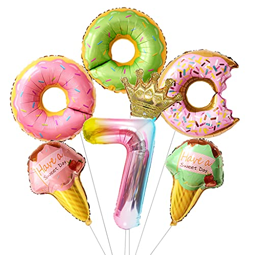 Daimay Juego de globos con números de donut para helados, de aluminio corona, de papel de aluminio helio y donut redondo para baby shower, boda, 7 cumpleaños de bebé, suministros para fiesta