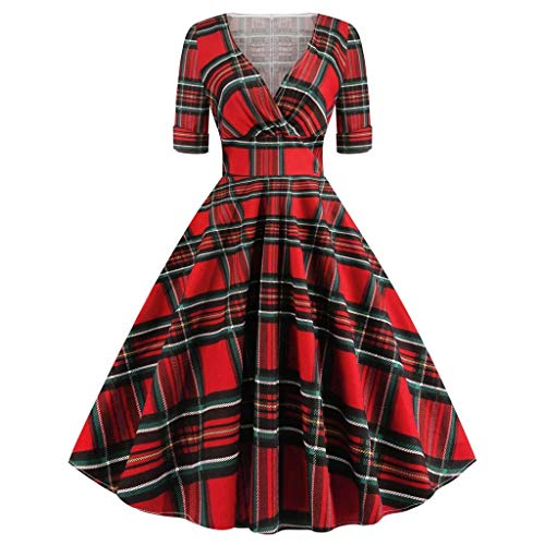 Janly Vestido de novia elegante para mujer, cuello en V, media manga a cuadros, estampado vintage, día de fiesta de día festivo, rojo, S