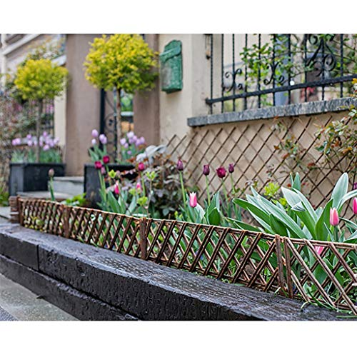 5PCS garden fence, wicker woven lawn partition, rustic retro style outdoor vegetable garden/yard decoration (Size : 100X35CM)