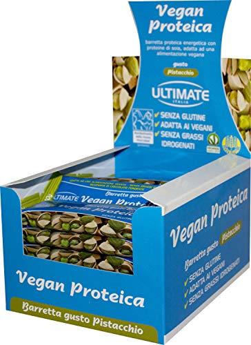 Barretta Vegan Proteica – Barretta Con Il 27% Di Proteine Isolate Di Soia – 100% Vegetale Ideale Per Vegani E Intolleranti Al Lattosio – Senza Glutine - Gusto Pistacchio - Ultimate Italia