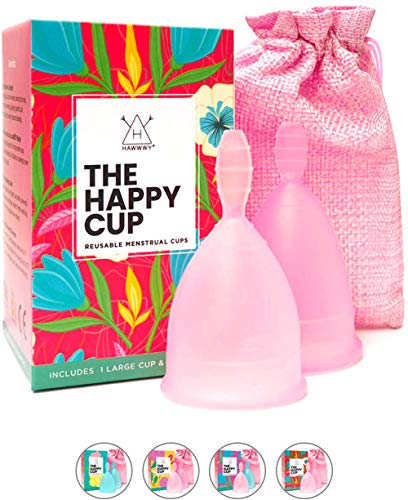 Happy Cup Menstrual Cups, Hawwwy Tampon & Pad Alternative 2 Pack Reusable Beginner, Most Comfortable Period Cup, Best Feminine Alternative, Quality Eco Friendly (Small & Large Pink)