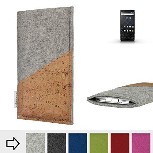 flat.design Handy Hülle Evora kompatibel mit BlackBerry KEYone Black Edition Schutz Tasche Kartenfach Kork passexakt handgefertigt fair