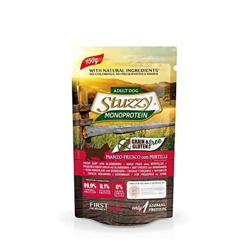 Stuzzy, Monoprotein Grain & Gluten Free, Cibo Umido per Cani Adulti con Manzo Fresco e Mirtilli Preparato in Patè - Totale 1,8Kg (12 Buste da 150G)